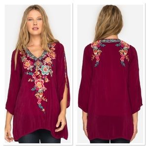 Johnny Was Roma Floral Embroidered Hi-Lo Tunic XS